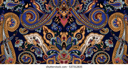 Paisley pattern frame. Vector ethnic oriental ornament. Vibrant colors on navy blue background. Textile design.
