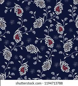 paisley pattern on navy