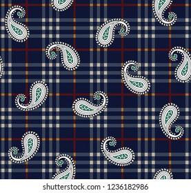 paisley pattern on navy stripe background