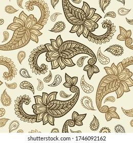 Paisley pattern on yellow background, seamless gold, red and white floral ornament, vector design. Abstract simple vintage Paisley pattern decoration, pastel pale colors floral fabric background