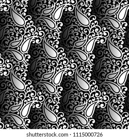 Paisley seamless black and white vector wallpaper