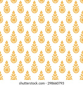 Paisley seamless pattern, block printed background, Indian motif ornament, vector