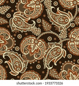 paisley seamless pattern. Damask colorful vector textile background