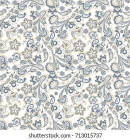 Paisley Seamless pattern with floral ornament. Vector background