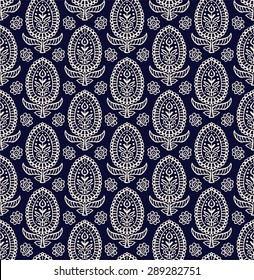Paisley seamless pattern, Hand Drawn background, Indian motif ornament, vector