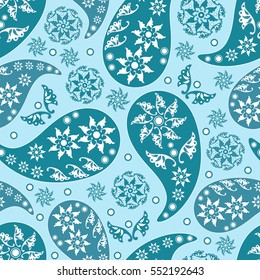 Paisley seamless pattern. Indian cucumber. Oriental decorative ornament