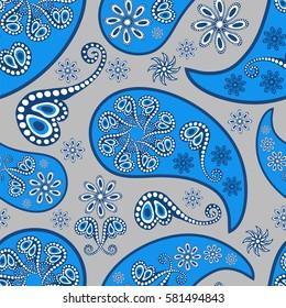 Paisley seamless pattern. Indian cucumber.  Oriental decorative ornament Vector.