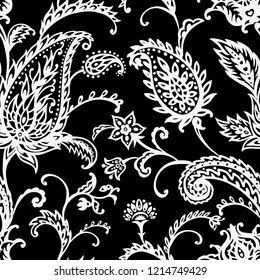 Paisley seamless pattern on black background, oriental pattern, black and white vector illustration