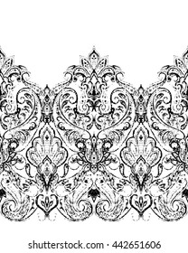 Paisley seamless pattern, ornamental indian border, decorative motif. For wrapping, wallpaper, fabric, textile