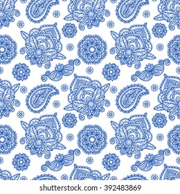 Paisley seamless pattern. Tribal art boho abstract print. Ethnic ornament. Repeating background texture. Fabric design, website decoration