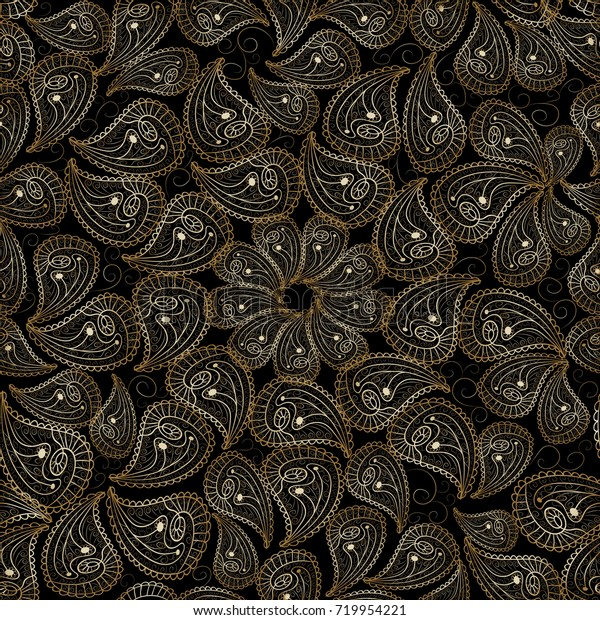 Paisley Seamless Pattern Vector Black Floral Stock Vector Royalty Free 719954221