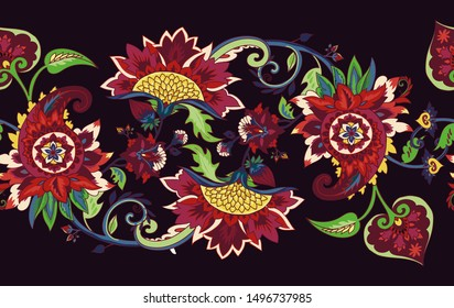 Paisley. Seamless Textile floral pattern with oriental paisley or buta ornament. Border, frame