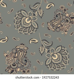 Paisley seamless vector pattern. Fabric Indian floral ornament