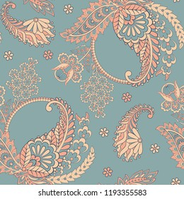 Paisley seamless vector pattern. Indian ornament