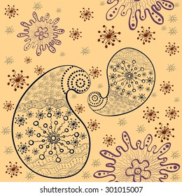 paisley and stars vector