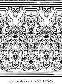 Paisley striped seamless pattern, ornamental indian border, decorative motif. Hand drawn print for wrapping, wallpaper, fabric, textile.