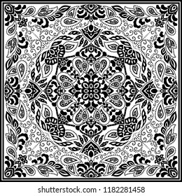 Paisley vector ornament seamless headscarf pattern, black and white minimalistic design theme