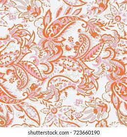 Paisley vector seamless pattern. Fantastic flower, leaves. Textile bohemian print. Batik painting.Vintage