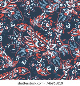 Paisley vector seamless pattern. Fantastic flower, leaves. Textile bohemian print. Batik painting.Vintage background