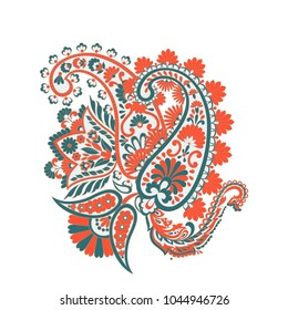Paisley vectot pattern with flowers in indian style