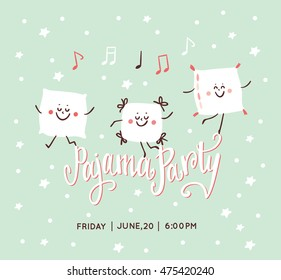 Pajama Party card. Sleepover Kids' Party Invitation. Cute pillow