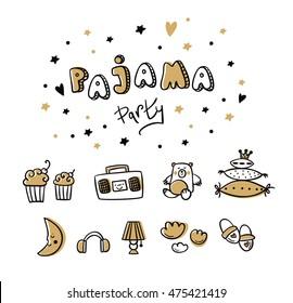 Pajama Party card. Sleepover Kids' Party Invitation.