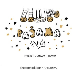 Pajama party card. Slumber party