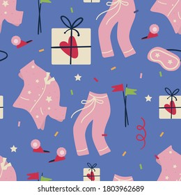 Pajama party concept. Vector seamless pattern with pajamas, mask, slippers, confetti and gifts.