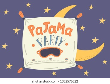 Pajama Party. Cute hand drawn pillow with sleep mask and lettering under starry sky. Cute vector illustration.