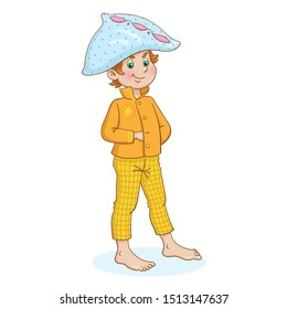Pajama party. Funny boy in pajamas and with a pillow in the form of a hat on his head. In cartoon style. Isolated on a white background.