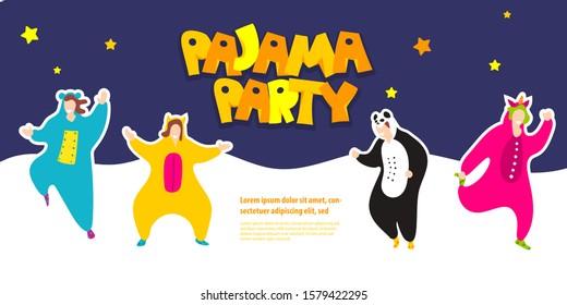 Pajama party. Happy friends in pajamas costume sleepwear. Trendy flat people vector illustration. Cute cartoon character unicorn, panda. Birthday party invitation. Cartoon happy dancing people.