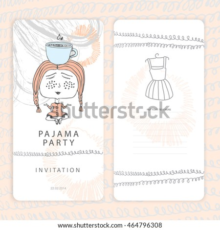 pajama party invitation doodle template your stock vector royalty