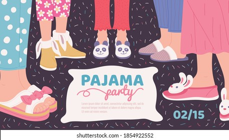 Pajama party invitation poster template with women legs in sleepwear and slippers, flat vector illustration. Sleepover pajama night party banner design.