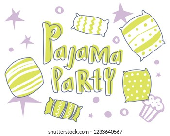 Pajama party invitiation. Vector template Slumber party for kids.