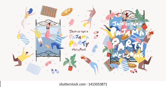 Pajama party! Objects for vector poster, cover or banner for a fun event. Painted illustration of people in pajamas on the bed in the bedroom, party invitation.