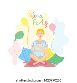 Pajama party poster. Beautiful cartoon girl character sitting with pillows and balloons. Invitation for slumber party. Editable vector illustration in modern style.