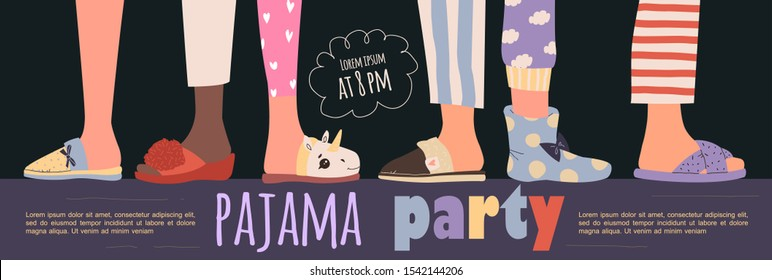 Pajama party poster with fun charaters. Invitation for slumber party. Editable vector illustration