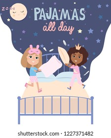 Pajama party poster with fun girls characters. Invitation for slumber party. Editable vector illustration