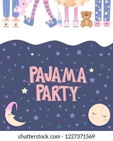 Pajama party poster with fun girls charaters. Invitation for slumber party. Editable vector illustration