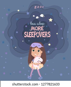 Pajama party poster with fun girls and paper cut sky. Invitation for slumber party. Editable vector illustration