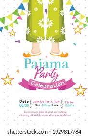 Pajama party poster with fun and Invitation for slumber party