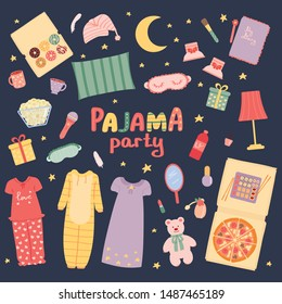 Pajama party set. Sleepover slumber party for girls. Holiday. Vector illustration in cartoon style