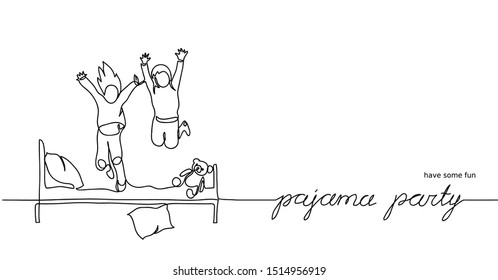 Pajama party, sleepover. Simple vector illustration of jumping kids on the bed. One continuous line drawing sketch.
