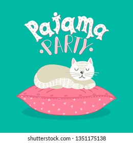 Pajama Party. White cat sleeping on pink pillow with hand drawn lettering on teal background. Cute vector illustration.