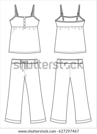pajama set black white fashion illustration stock vector royalty
