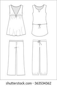 Pajama set ~ cad fashion sketch