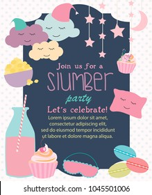 Pajama Sleepover Kids' Party Invitation Card or Poster Template.