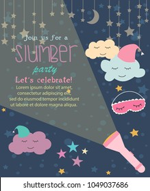 Pajama Sleepover Kids' Party Invitation Card or Poster Template. Vector illustration