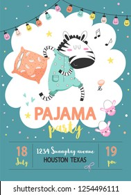 Pajama sleepover kids party invitation card or poster template with a funny zebra in pajamas with a pillow in cartoon style. Vector illustration.
