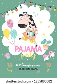 Pajama sleepover kids party invitation card or poster template with a funny giraffe in pajamas and balloons in cartoon style. Vector illustration.